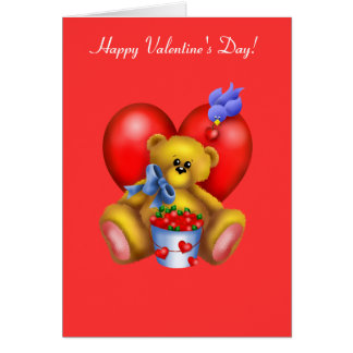 Happy Valentines Heart Bear 1 Greeting Card