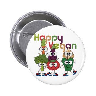 Happy Vegan Pinback Button