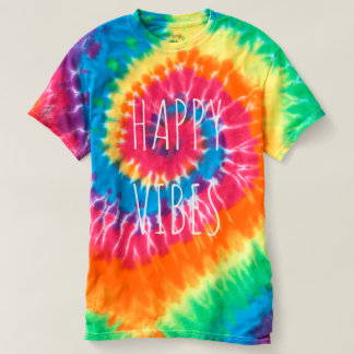 HAPPY VIBES Women's Spiral Tie-Dye T-Shirt