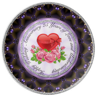 Happy Wedding Anniversary Decor Porcelain Plate