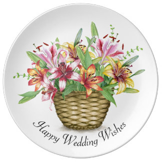 Happy Wedding Wishes Decorated Porcelain Plate