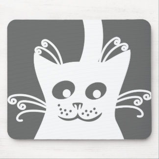 Happy White Cat Mouse Pad