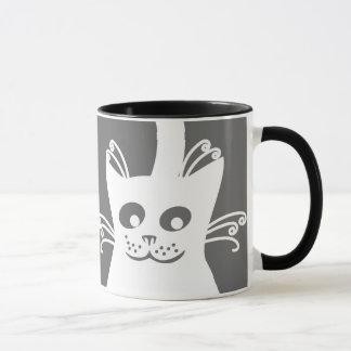 Happy White Cat Mug