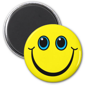 Happy Yellow Smiley Face 6 Cm Round Magnet