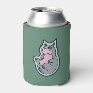 Happy Young Gray Hippo Teal Drawing Design Can Cooler