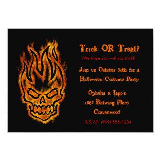 Hard Core Flaming Skull Halloween Invitations