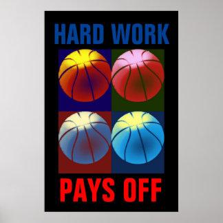 Hard Work Pays Off Basketball Motivational Pop Art Poster