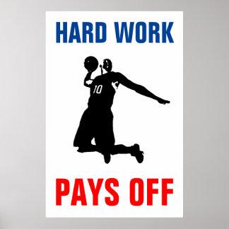 Hard Work Pays Off Basketball Sport Pop Art Poster