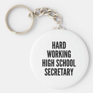 Hard Working High School Secretary Basic Round Button Key Ring