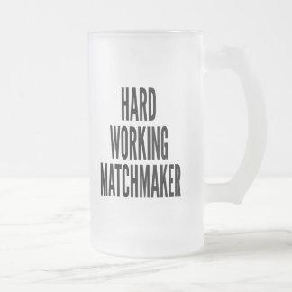Hard Working Matchmaker Frosted Glass Beer Mug