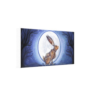 Hare Under The Moon Stretched Canvas Print
