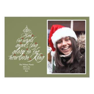 Hark the Christmas carol lyric tree photo green 5x7 Paper Invitation Card