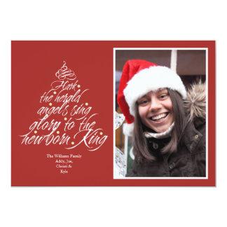 Hark the Christmas carol lyric tree photo red 13 Cm X 18 Cm Invitation Card
