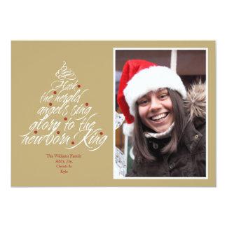 Hark the Christmas carol lyric tree photo taupe 13 Cm X 18 Cm Invitation Card