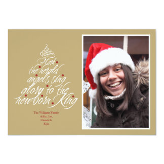 Hark the Christmas carol lyric tree photo taupe 5x7 Paper Invitation Card