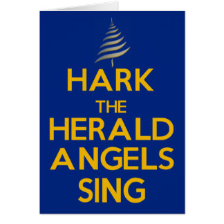 Hark The Herald Angels Sing - Blue Greeting Card