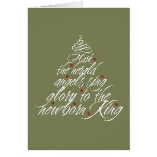 Hark the Herald Christmas carol lyric tree green Note Card