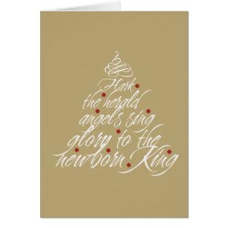 Hark the Herald Christmas carol lyric tree taupe Note Card