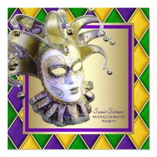 Harlequin Mardi Gras Masquerade Party Card