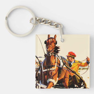 Harness Race Double-Sided Square Acrylic Key Ring