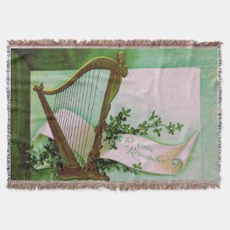 Harp of Erin Shamrock Green Throw Blanket