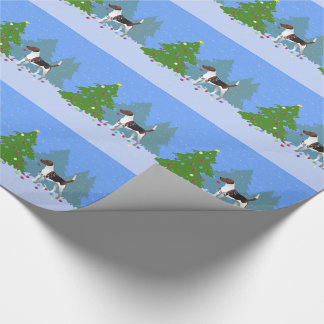 Harrier or Beagle Decorating a Christmas tree Wrapping Paper