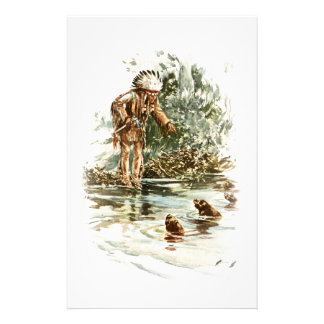 Harrison Fisher Song of Hiawatha Red Indian Otters Stationery