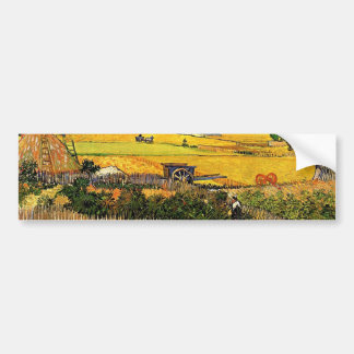 Harvest at La Crau, with Montmajour... Bumper Sticker