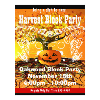 Harvest Block Party Event or Fall Event Flyer