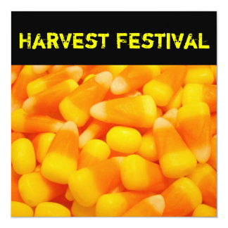 "Harvest Festival Invitation Announcements Candy 5.25"" Square Invitation Card"