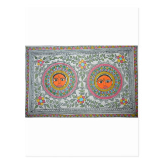 "has a ""sun"" motif in ""madhubani painting"" style. postcard"