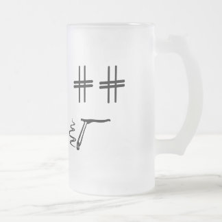 # Hashtag Dude Cartoon Face Funny Social Media Frosted Glass Beer Mug