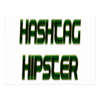 Hashtag Hipster Green Postcard