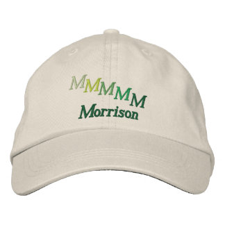 Hat - Name and Staggered Monogram (Greens) Embroidered Baseball Cap