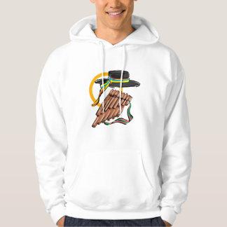 hat pan flute ribbon music design.png hooded sweatshirts