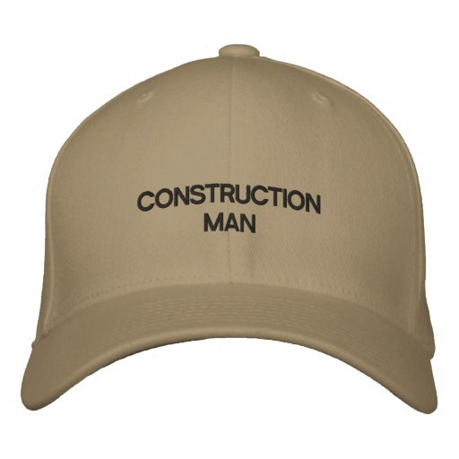 Hat with words CONSTRUCTION MAN on it. Baseball Cap