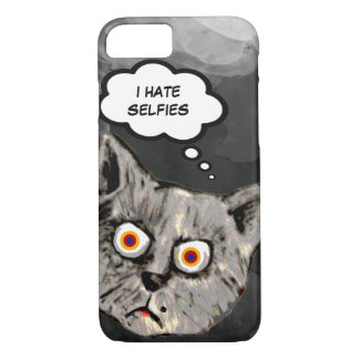 hate selfies funny cat cartoon iPhone 7 case