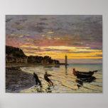 Hauling a Boat Ashore, Honfleur by Claude Monet Print