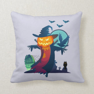 Haunted Halloween Pumpkin Head Scarecrow Spooky Cushions
