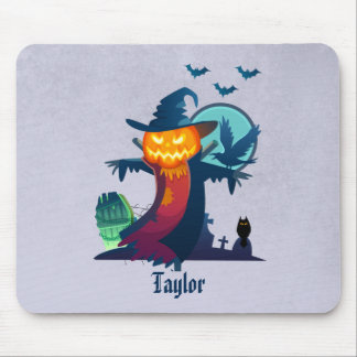 Haunted Halloween Pumpkin Head Scarecrow Spooky Mouse Pad
