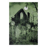 Haunted House Jack O' Lantern Ghost Moon Print