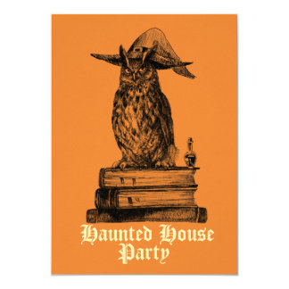 Haunted house party witch owl customisable card