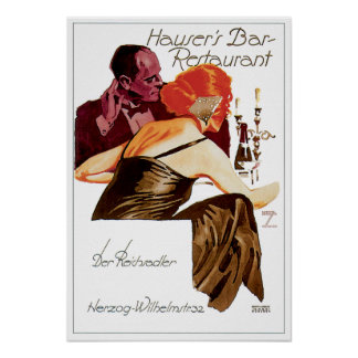 Hauser's Bar Restaurant Vintage Food Ad Art Poster