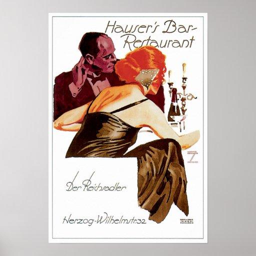 Hauser's Bar Restaurant Vintage Food Ad Art Print