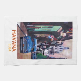 Havana in Cuba  - El Capitolo with oldtimer Tea Towel