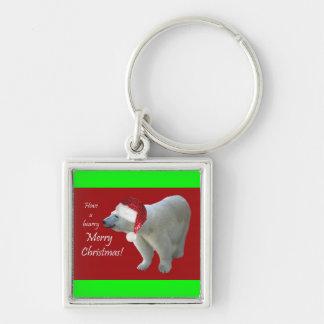 Have a Bearry Merry Christmas Polar Bear Santa Key Silver-Colored Square Key Ring