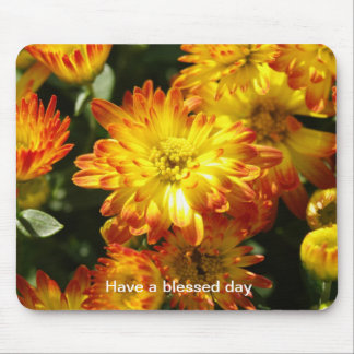 Have a blessed day orange & yellow floral mousepa mouse pad