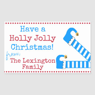 Have A Holly Jolly Christmas Funny Elf Legs Rectangular Sticker