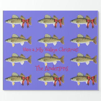 """Have a Jolly Walleye Christmas"" Walleye Pike Wrapping Paper"