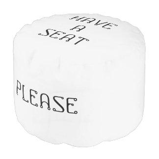 Have A Seat Please White Smoke Round Pouf by Janz
